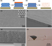 "The illustrations at the top (steps A through D) depict the creation of 3-D ""photonic crystals"" to improve the efficiency of thin-film solar cells, a technology that could bring low-cost solar energy. The ""inverse opal"" structure is formed by treating the crystals with hydrofluoric acid (d). Scanning electron microscope images show its small-scale crystal structure from three different angles (e and g), and a photograph (h) shows how the same membrane can be wrapped around a glass pipette. (Source: Purdue University)"