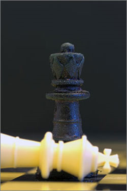 The Wyss Institute researchers molded a series of chess pieces made of their chitosan bioplastic, demonstrating a new way towards mass-manufacturing large 3D objects with complex shapes made of fully compostable materials. (Source: Harvard)