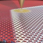 Using a sharp metal scanning tunneling microscopy tip, researchers were able to move the domain border between the two graphene configurations around. (Image: Pablo San-Jose ICMM-CSIC)