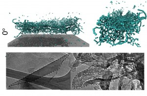 Molecular simulations and electron microscope images show what happens to a carbon nanotube when the end of it strikes a target directly at about 15,000 miles per hour. Rice University researchers found the nanotubes split into useful nanoribbons. (Source: Ajayan Group/Rice University)
