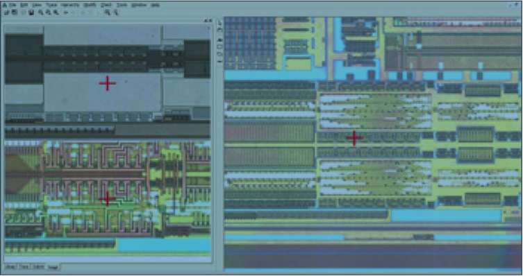 Figure 2. Three layers of a multi-layered chip analyzed by RE ready for annotation. Courtesy of Chipworks.