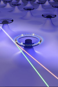 Arrays of self-referenced and self-heterodyned Whispering-Gallery Raman microlasers for single nanoparticle detection. (Source: Washington University)