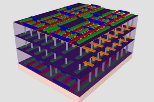 "Stanford engineers have created a four-layer prototype high-rise chip. In this representation, the bottom and top layers are logic transistors. Sandwiched between them are two layers of memory. The vertical tubes are nanoscale electronic ""elevators"" that connect logic and memory, allowing them to work together to solve problems. (Source: Stanford University)"