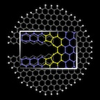 "Graphene nanoribbons can be enticed to form favorable ""reconstructed"" edges by pulling them apart with the right force and at the right temperature, according to researchers at Rice University. The illustration shows the crack at the edge that begins the formation of five- and seven-atom pair under the right conditions. (Source: Rice University)"
