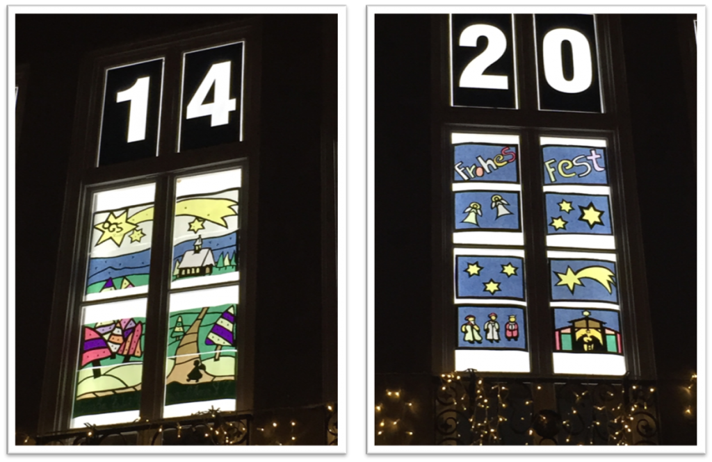 Decorated windows (for Dec. 14 and 20) in the Jülich town hall.