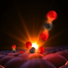This illustration shows atoms forming a tentative bond. (Source: SLAC)