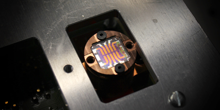 A solar cell chip based on nanocrystals fabricated by the ETH researchers. (Source: Deniz Bozyigit / ETH Zurich)