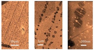 Images of early-stage growth of graphene on copper. The lines of hexagons are graphene nuclei, with increasing magnification from left to right, where the scale bars from left to right correspond to 10 μm, 1 μm, and 200 nm, respectively. The hexagons grow together into a seamless sheet of graphene. (Source: Caltech)
