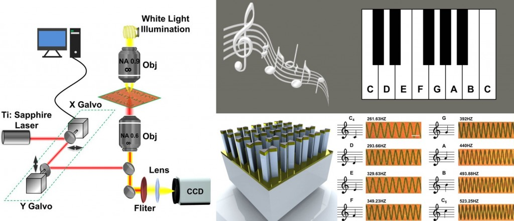 Nano piano concept: Schematic images of an experimental setup (left) for an array of gold, pillar-supported bowtie nanoantennas (bottom center) which can be used to record distinct musical notes, as shown in the experimentally obtained dark-field microscopy images (bottom right). These particular notes were used to compose 'Twinkle, Twinkle, Little Star.' (Source: University of Illinois at Urbana-Champaign)