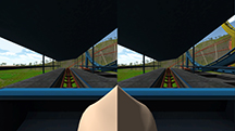 "Virtual reality games often cause simulator sickness – inducing vertigo and sometimes nausea - but new research findings point to a potential strategy to ease the affliction: insert an image of a virtual human nose, or ""nasum virtualis,"" into the center of the video display. This screenshot is from one application where the user rides a roller coaster. Findings suggest the virtual nose reduces simulator sickness. (Source: Purdue University)"