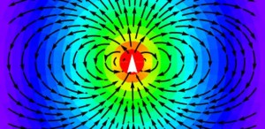 The radiation pattern from a dipole antenna showing symmetry breaking of the electric field. (Source: University of Cambridge)