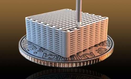 Lawrence Livermore researchers have made graphene aerogel microlattices with an engineered architecture via a 3D printing technique known as direct ink writing. (Source: Ryan Chen/LLNL)