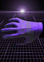"This artistic rendering depicts electronic devices created using a new inkjet-printing technology to produce circuits made of liquid-metal alloys for ""soft robots"" and flexible electronics. Elastic technologies could make possible a new class of pliable robots and stretchable garments that people might wear to interact with computers or for therapeutic purposes. (Source: Purdue University)"