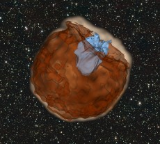Simulation of the expanding debris from a supernova explosion (shown in red) running over and shredding a nearby star (shown in blue). (Source: Daniel Kasen, Berkeley Lab/ UC Berkeley)