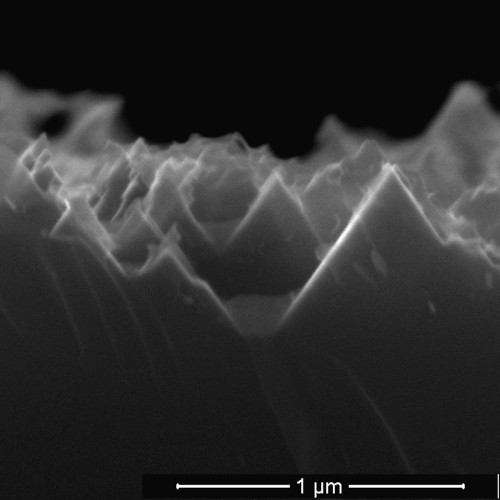 An electron microscope image from earlier research shows the nanoscale spikes that make up the surface of black silicon used in solar cells. (Source: Barron Group/Rice University)