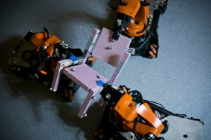 MIT researchers tested the viability of their algorithm by using it to guide a crew of three robots in the assembly of a chair. (Source: MIT)