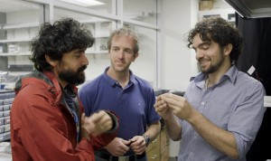 Stanford Assistant Professor Manu Prakash, left, and graduate students Jim Cybulski and Georgios Katsikis developed the water drop computer. (Source: Stanford University)