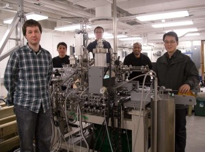 An international team led by Princeton University scientists has discovered Weyl fermions, elusive massless particles theorized 85 years ago that could give rise to faster and more efficient electronics because of their unusual ability to behave as matter and antimatter inside a crystal. The team included numerous researchers from Princeton's Department of Physics, including (from left to right) graduate students Ilya Belopolski and Daniel Sanchez; Guang Bian, a postdoctoral research associate; corresponding author M. Zahid Hasan, a Princeton professor of physics who led the research team; and associate research scholar Hao Zheng. (Source: Princeton University)