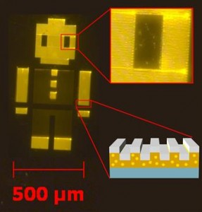 Researchers fabricated a 1mm device (aka Robot Man) made of quantum dots. Every region of the device has thousands of quantum dots, each measuring 6nm (Source: Illinois at Urbana-Champaign)