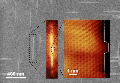 Progressively zoomed-in images of graphene nanoribbons grown on germanium. The ribbons automatically align perpendicularly and naturally grow with their edges oriented along the carbon-carbon bond direction, known as the armchair edge configuration. (Source: Arnold Research Group and Guisinger Research Group/UW-Madison)