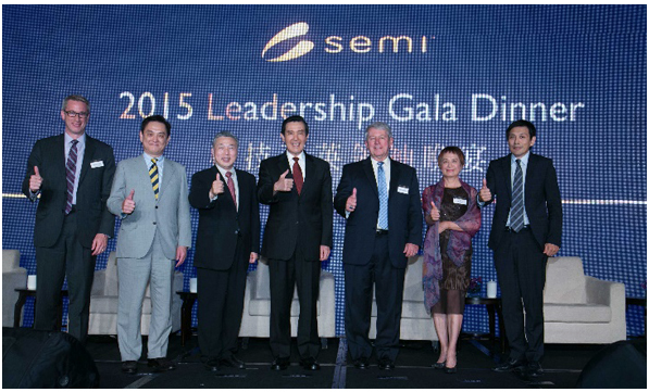 Martin Anstice, Lam Research; Nicky Lu, Etron Technology; Tien Wu, ASE Group; Taiwan President Ma; Denny McGuirk, SEMI; Su Lin, Hermes Epitek; Terry Tsao, SEMI