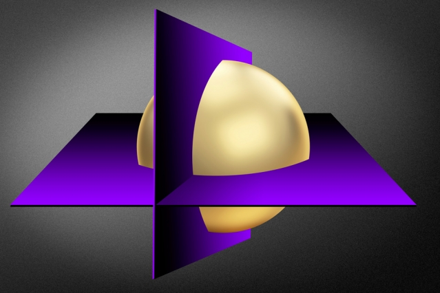 """Cutting plane"" methods converge on the optimal values of a mathematical function by repeatedly cutting out regions of a much larger set of possibilities (gold sphere). (Source: Jose-Luis Olivares/MIT)"