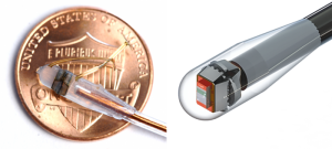 Image of the sensor encapsulated into the catheter with a US penny for scale, and (right) a photorealistic rendering of the molded system. (Source: Harvard)