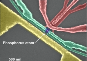 False-colour electron microscope image of the silicon nanoelectronic device which contains the phosphorus atom used for the demonstration of quantum entanglement. (Source: UNSW)