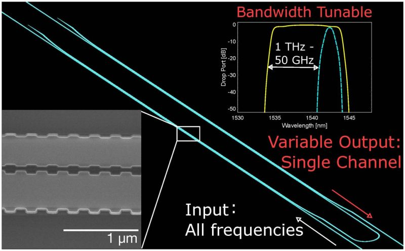 The bandwidth-tunable silicon filter uses periodic nanostructures to filter a single channel from all input frequencies. The filter has the widest tuning span ever demonstrated on a silicon chip. (Source: Wei Shi/Université Laval)