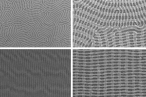 Images of stacked nanomesh bilayers of cylinders (Source: MIT)