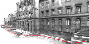 A 3D model of the ETH Zurich main building. The red line indicates the path the scientists took in order to generate it. The researchers optimized this image using additional offline calculations. (Source: ETH Zurich / Thomas Schöps)