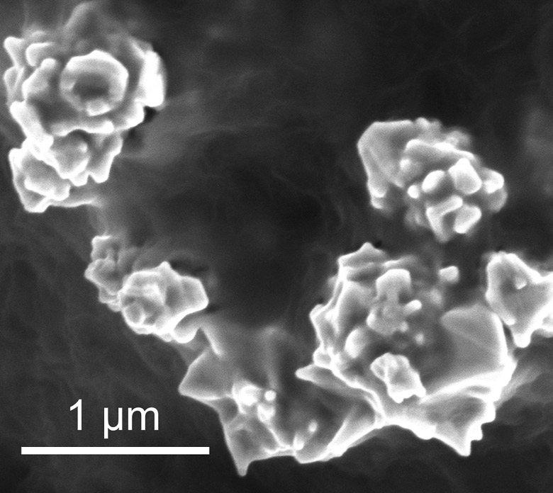 Bunched together, as shown here, nanoparticles of graphene-coated nickel conduct electricity. When the battery overheats, the particles separate and electric current stops flowing. During cooling, the particles reunite and the battery starts producing electricity again. (Source: Stanford)