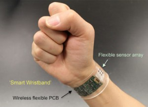 "A new sensor developed at UC Berkeley can be made into ""smart"" wristbands or headbands that provide continuous, real-time analysis of the chemicals in sweat. (Source: UC Berkeley)"