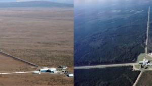 Aerial views showing the locations and extents of the LIGO Hanford and LIGO Livingston interferometers. (Source: LIGO)