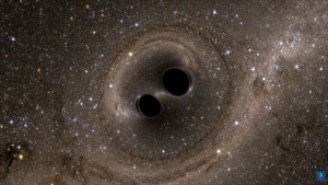 The collision of two black holes holes is detected by the Laser Interferometer Gravitational-Wave Observatory or LIGO. (Source: SXS, the Simulating eXtreme Spacetimes)