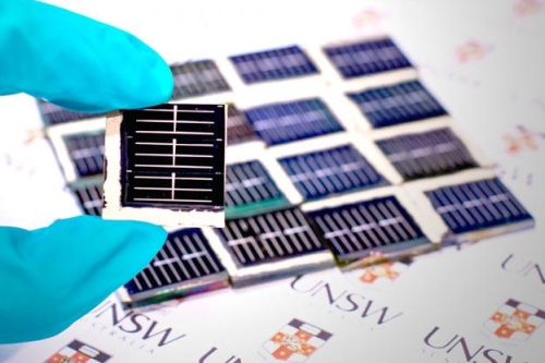 The new high-efficiency, low-toxicity solar cells developed by UNSW's Australian Centre for Advanced Photovoltaics. (Source: Robert Largent/UNSW)