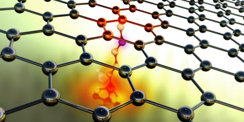 Functionalization mediates heat transport of graphene nanoflakes. (Source: Johan Liu, Philip Krantz, Krantz Nanoart)