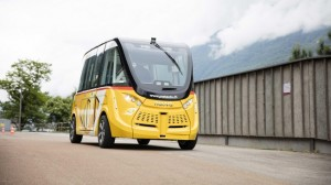 Driverless vehicles began being tested on public roads – a first for Switzerland – starting last week. Autonomous shuttles will carry up to 11 passengers at a time. EPFL is the research partner on the project. (Source: EPFL)