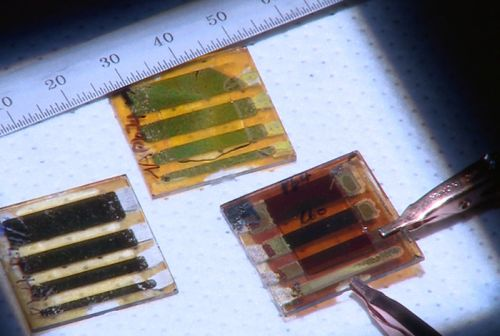 Three types of large-area solar cells made out of two-dimensional perovskites. At left, a room-temperature cast film; upper middle is a sample with the problematic band gap, and at right is the hot-cast sample with the best energy performance. (Source: Los Alamos National Laboratory)