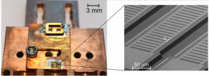 A semiconductor laser chip (lower left, center) measuring approximately 3mm x 1.5mm contains 10 lasers. A scanning electron microscopy magnification (right) shows one of the laser cavities. Periodic slits in the thin-film top metal layer provide the distributed feedback in the cavity. (Source: Lehigh University)
