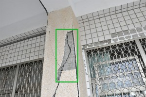 This damage from a 2016 earthquake in Taiwan is identified using a new automated system that could dramatically reduce the time it takes for engineers to assess damage to buildings after disasters. The system outlines damage within green boxes for easy reference. (Source: Purdue University)