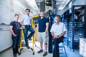 Members of the John Martinis quantum computing group (l to r) : Charles Neill, Pedram Roushan, Anthony Megrant and John Martinis (Source: UCSB)