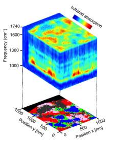 Nanoscale-resolved hyperspectral infrared data cube of a polymer blend, comprising 5000 nano-FTIR spectra (Source: CIC nanoGUNE)