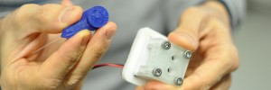 Tiny blue 3D printed microreactor (Source: University of Helsinki)